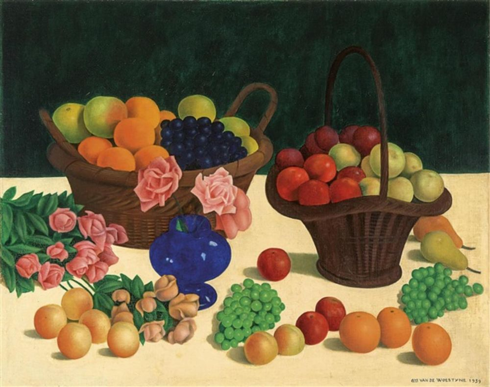 'Nature morte aux roses et paniers de fruits' Gustave Van De Woestyne, 1939  We'll be sharing a series of inspiring still life paintings by Gustave Van De Woestyne. Our latest photoshoot was located at the Van Buuren museum in Brussels, where we discovered lots of paintings from the Belgian painter. We fell in love with his use of colour and the way he captured elements of the daily things in life in such a sleek and colorful way. As we are spending a lot of time at home, we encourage you too to treasure the beauty of things that surround us every day. 🧡🍇🍎