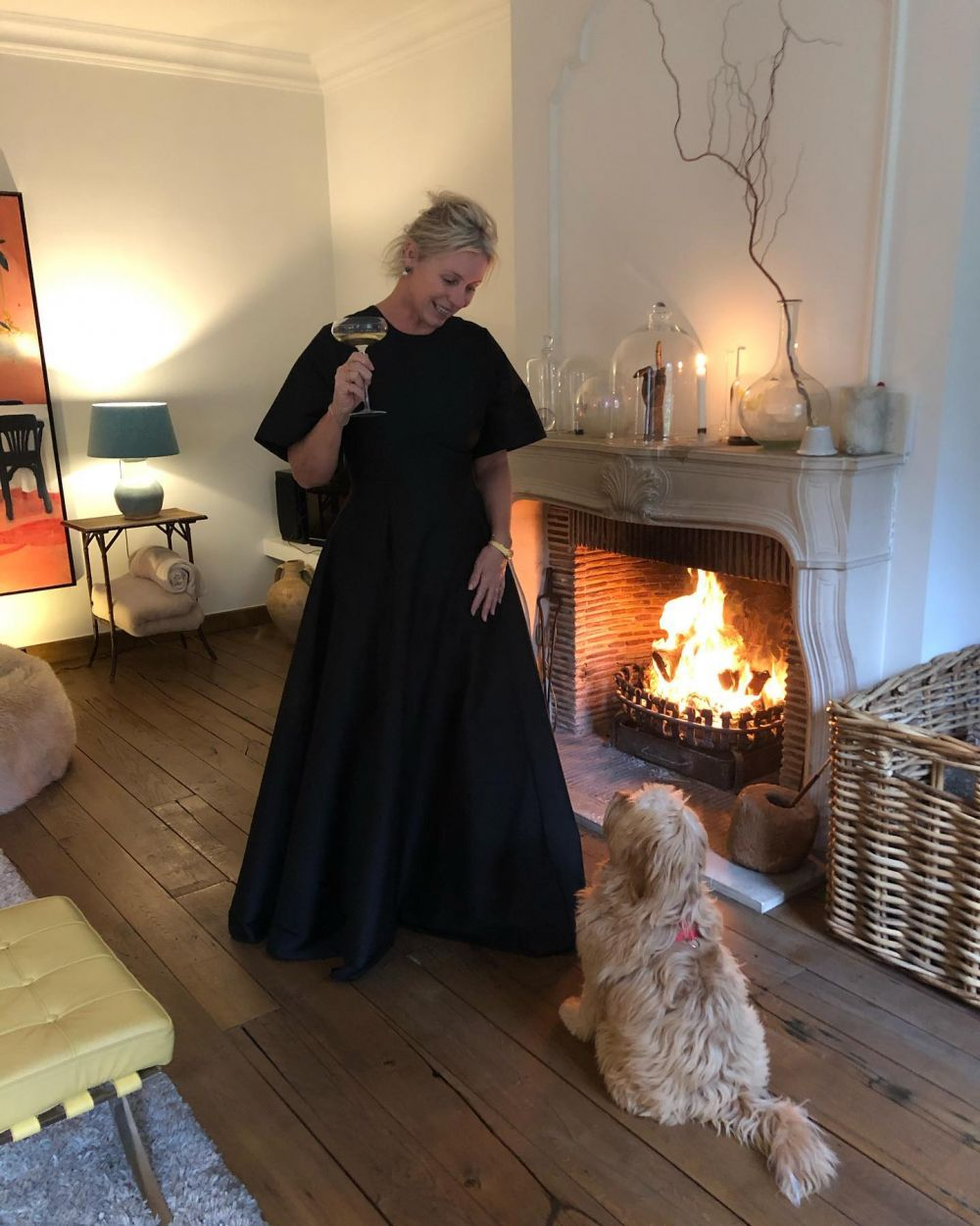 Girlsnight at my mom's home🥂  BERNADETTE WEARING THE BLACK MADELINE DRESS. ❤️❤️  Now available at selected stores worldwide. #PS21
