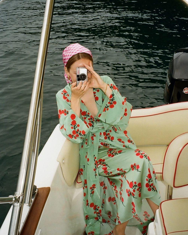 SHOOTING BERNADETTE, IN BERNADETTE ~ Sofie wearing the Red Blossom on Green Peignoir & Slip dress. 🌹❤️  Now available on BERNADETTEANTWERP.com