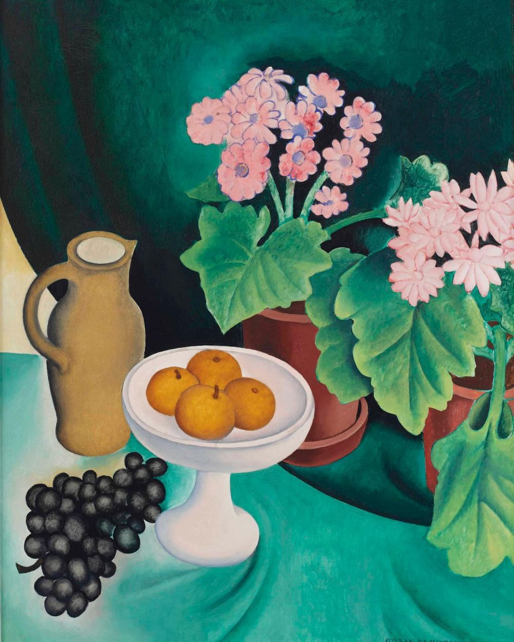 'Derniers fruits premières fleurs' Gustave Van De Woestyne, 1928  We'll be sharing a series of inspiring still life paintings by Gustave Van De Woestyne. Our latest photoshoot was located at the Van Buuren museum in Brussels, where we discovered lots of paintings from the Belgian painter. We fell in love with his use of colour and the way he captured elements of the daily things in life in such a sleek and colorful way. As we are spending a lot of time at home, we encourage you too to treasure the beauty of things that surround us every day. 🧡🍇🍎