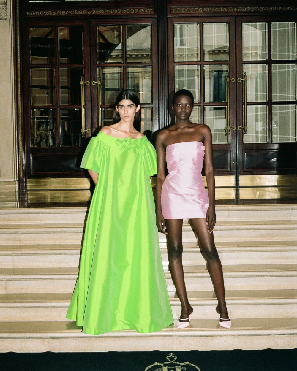 NAME A MORE ICONIC DUO, I'LL WAIT.  ~ Wearing dress Isabella in neon green & dress Taffi in baby pink followed by dress Emmanuelle with hand-embroidered grapes. 🍇  Playing with color, volumes and print is what BERNADETTE is known for. In this collection, we decided to take it a step further and explore new techniques like hand-embroidery on silk. Our signature nod to intricate couture shapes gets the company of a cheeky, sexy party girl. Have fun and let loose, BERNADETTE promises you your best Summer yet.