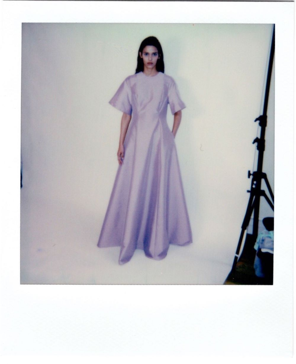 🖤 PRESPRING21 COLLECTION LAUNCHING AT SELECTED STORES WORLDWIDE. 🖤 Polaroids taken from our Paris Pre-quarantaine showroom last March. Seems like forever ago. 💭 THE WINTER PINK MADELINE DRESS. #PS21