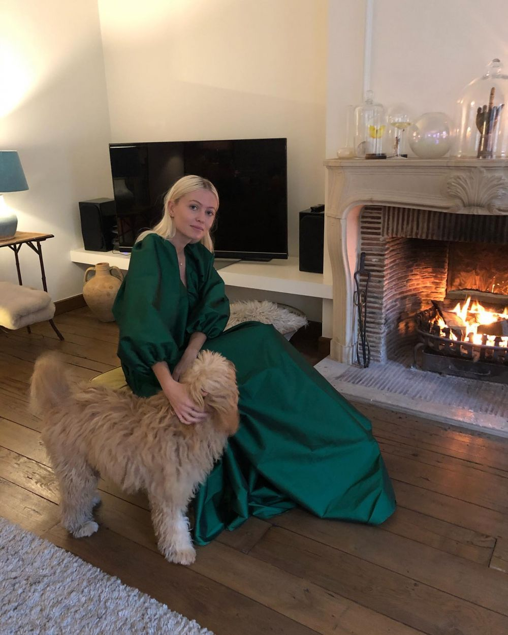 Favorite dog, favorite dress. Happy first of January!🌲🐕🍾  WEARING THE EMERALD GREEN GEORGE DRESS. ~ Exclusively available @matchesfashion. #PS21