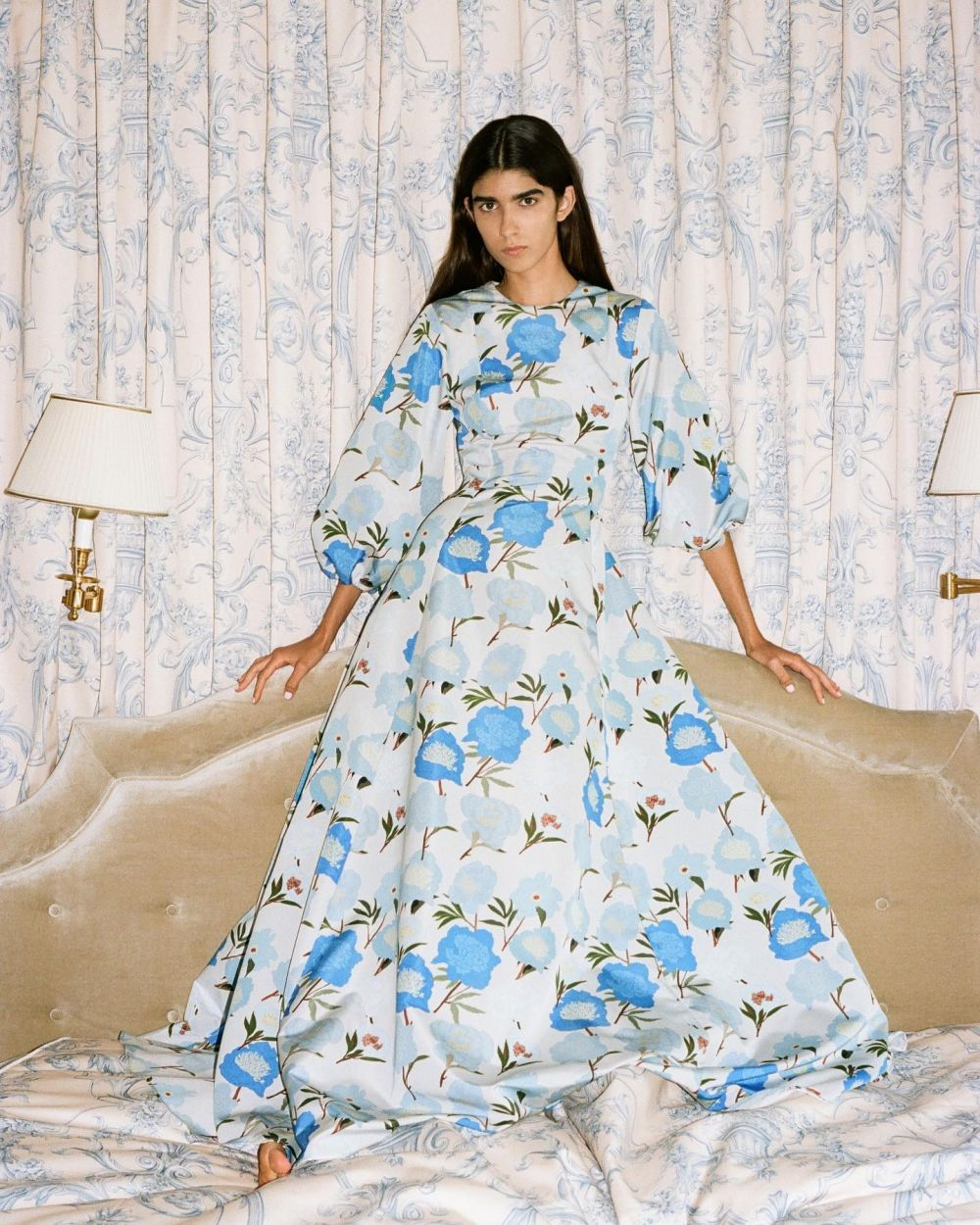 Staying in and dressing up for myself, because life is too short not to ~ Blue peonies printed on crisp taffeta. #SS22